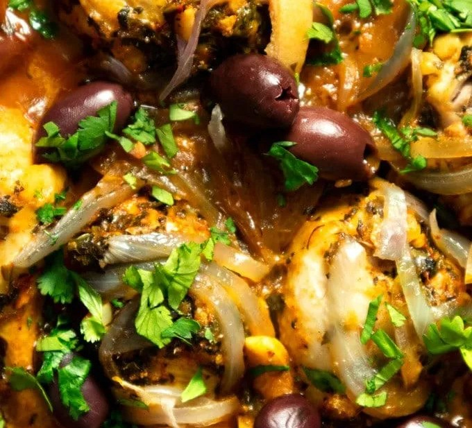 Chicken Chermoula Tagine with Olives