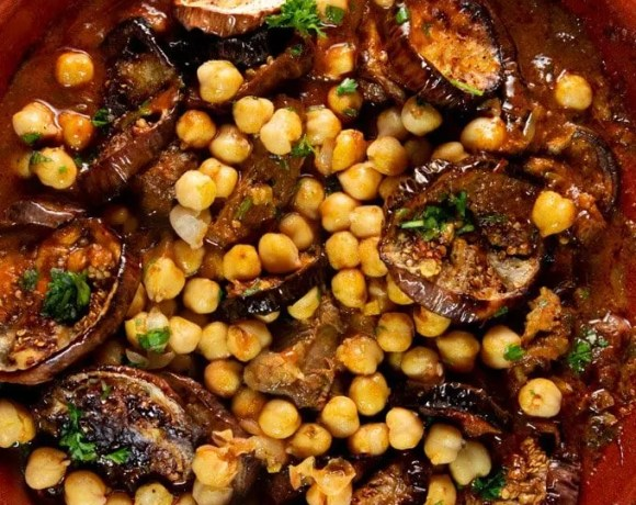 Eggplant and Chickpea tagine garnished with fresh parsley