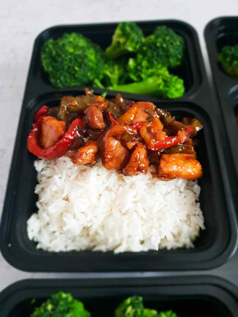 Sticky, sweet and salty teriyaki chicken meal prep idea.