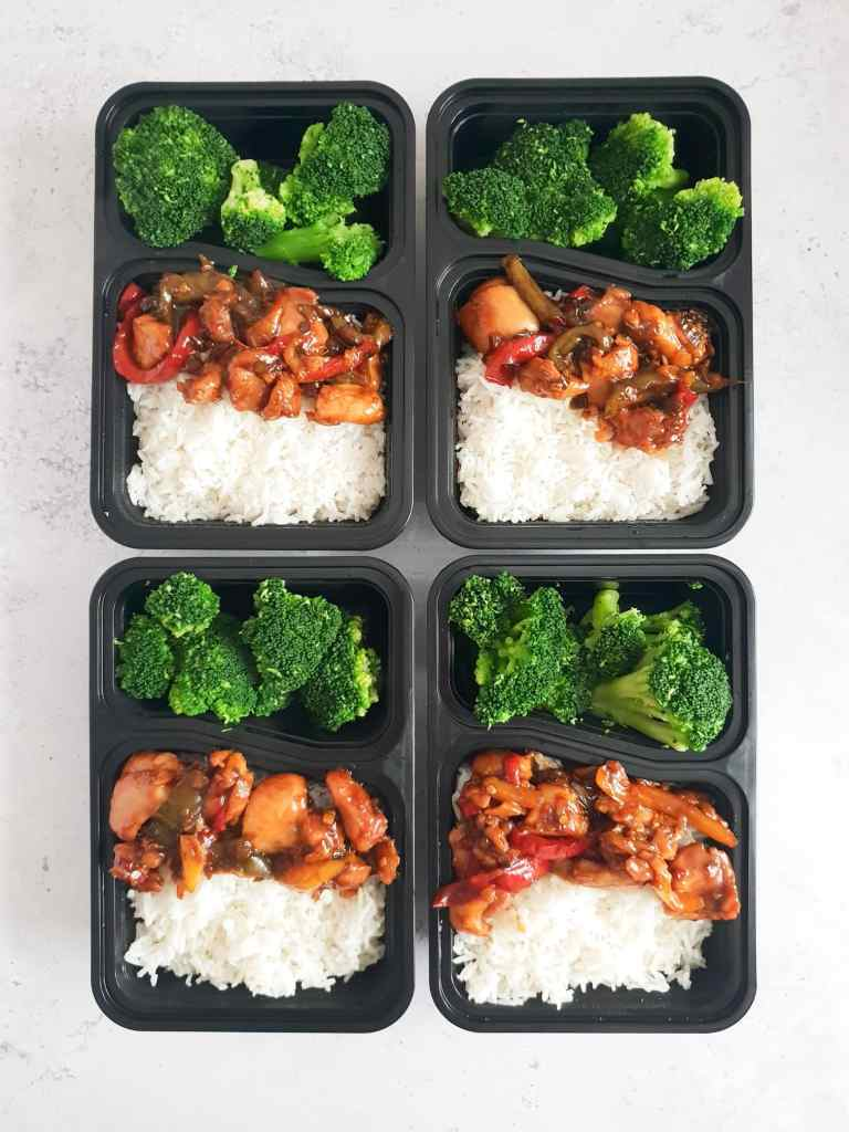Teriyaki chicken in meal prep containers.