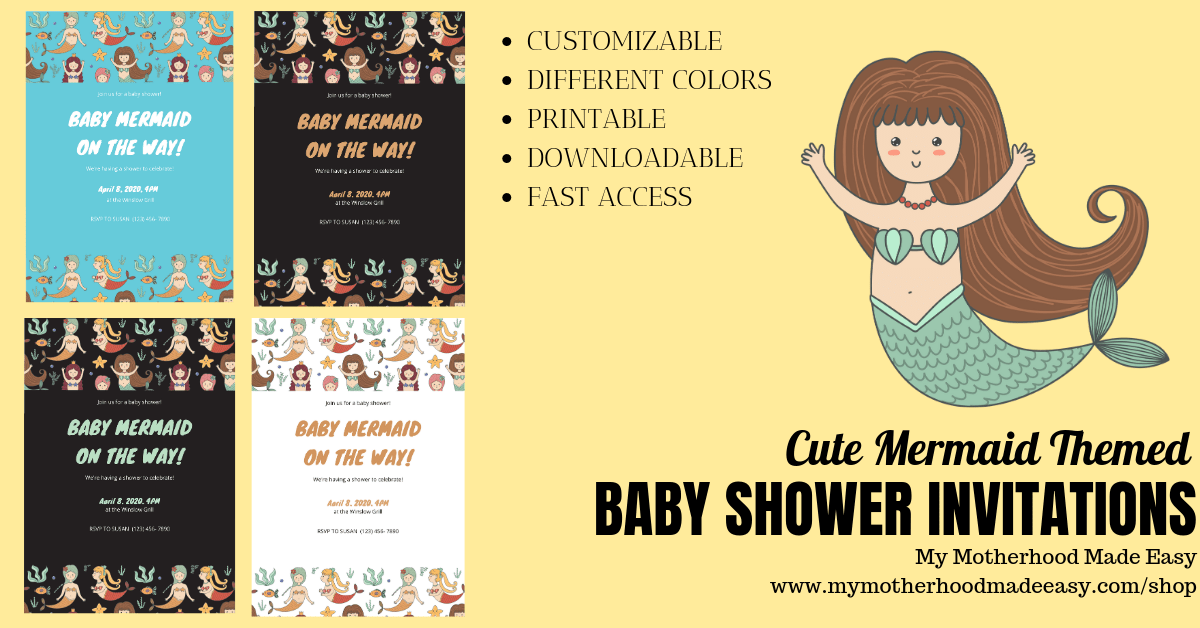 picture about Printable Mermaid Baby Shower Invitations called Customizable Mermaid Child Shower Invites Boy or girl Shower
