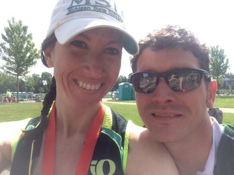 My husband Kent is my biggest cheerleader! This was after we ran my first triathlon together