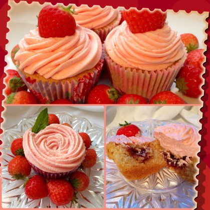 Summer strawberry cupcakes.