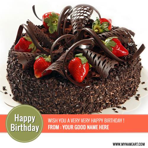 Wish You A Very Happy Birthday Chocolate Cake With Name