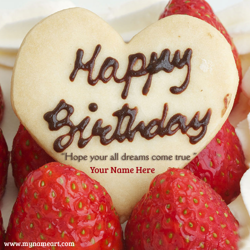 My Name With Happy Birthday Strawberry Cake Image Wishes