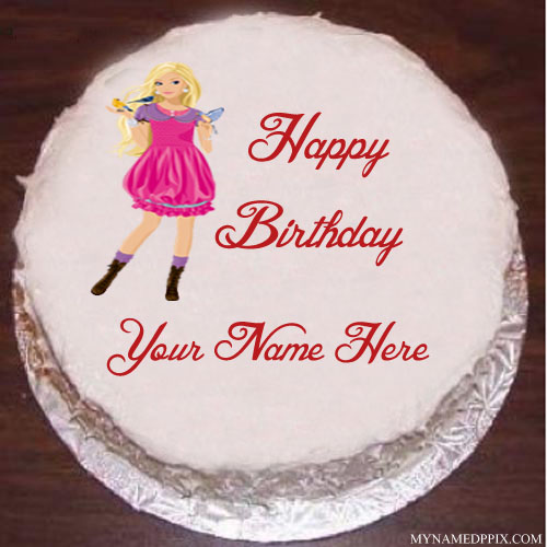 Barbie Doll Birthday Cake With Name Image
