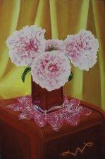 """Peonies, 2005, oil on panel 24"""" x 36"""""""