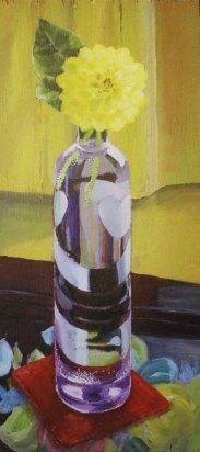 """Purple vase, 2004, acrylic on panel 9"""" x 19"""""""