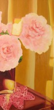 """Peonies and reflections, April 2011, oil on masonite 12"""" x 24"""""""