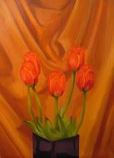 "Tulips II, April 2011, oil on masonite, 24"" x 32"""