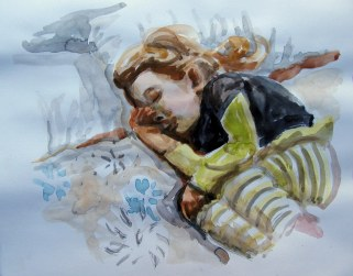 The Late Nap, July 3, 2011, water colour on paper