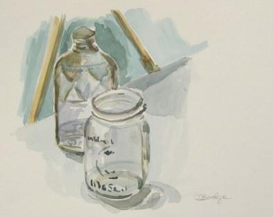 Pint and mason jar still-life, Oct. 2011 watercolour on paper