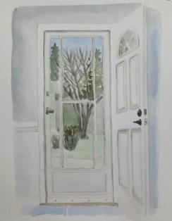 """Front Door, Mar. 31, 2017, watercolour on paper, 11""""x14"""""""