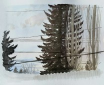 "Trees and Power-lines, Mar. 27, 2017, watercolour on paper, 11""x14"""