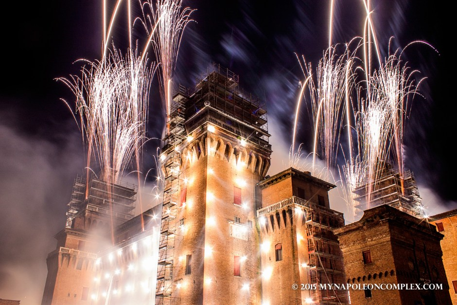 Picture of New Years Eve fireworks in Castello Estense, Ferrara, Italy.