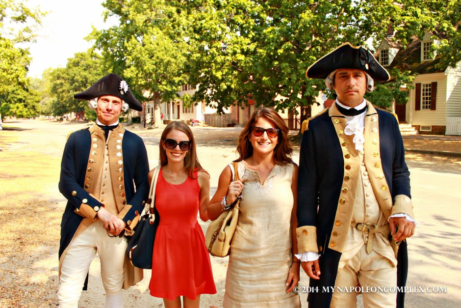 My best friend and I with some colonial soldiers in Williamsburg.