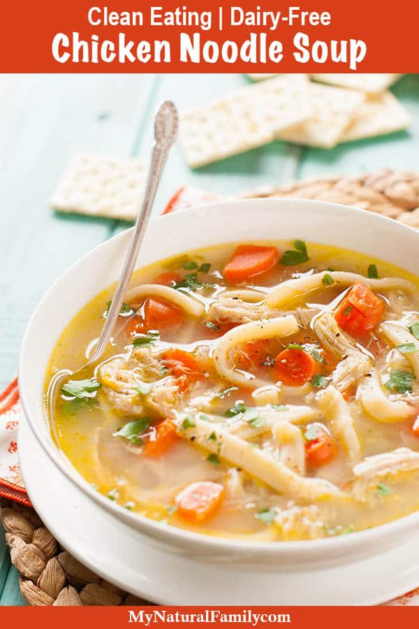Crock Pot Clean Chicken Noodle Soup Recipe {Clean Eating, Dairy-Free}