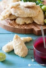 Coconut Crusted Chicken Tenders with Blackberry Sweet Chili Lime Dipping Sauce