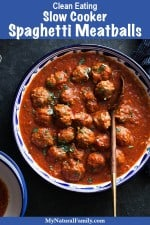 Slow Cooker Spaghetti Sauce from Scratch Recipe with Meatballs {Clean Eating}