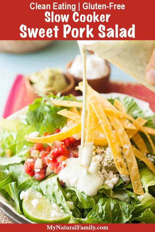 Cafe Rio Pork Salad Recipe with Creamy Tomatillo Ranch Dressing {Gluten-Free, Clean Eating}