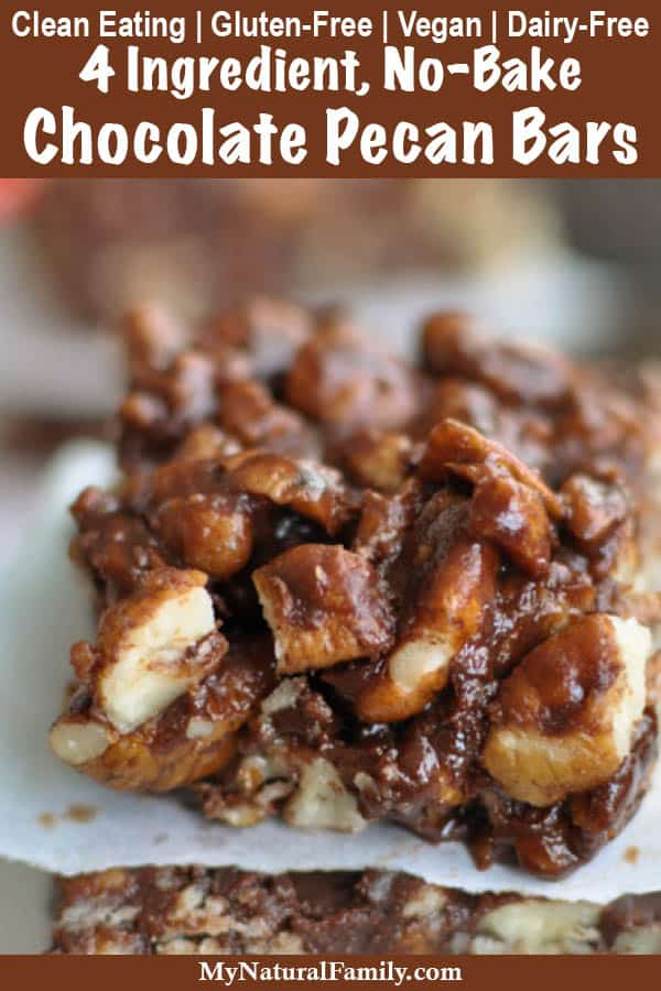 4 Ingredient, No-Bake Dark Chocolate Pecan Bars {Clean Eating, Gluten-Free, Vegan, Dairy-Free}