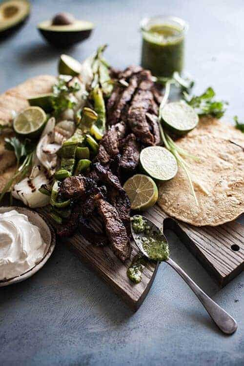 Grilled Steak Fajitas with Chimichurri Sauce