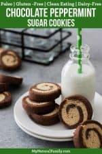 Chocolate Peppermint Swirl Soft Paleo Sugar Cookies Recipe {Clean Eating, Gluten Free, Dairy Free}