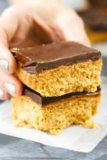 Clean Eating No Bake Peanut Butter Bars Recipe