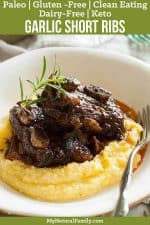 Paleo Short Ribs Recipe with Garlic and Rosemary {Gluten-Free, Clean Eating, Dairy-Free, Keto}