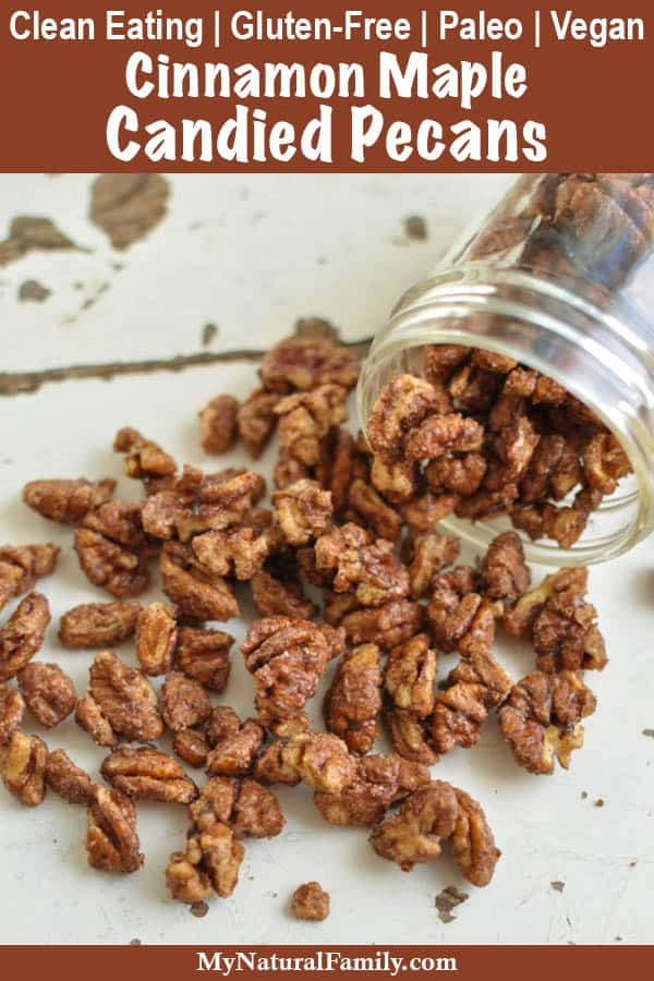 5 Minute Stovetop Cinnamon Maple Candied Pecans Recipe {Clean Eating, Paleo, Gluten-Free, Dairy-Free, Vegan}