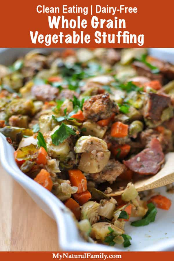 Clean Eating Stuffing Recipe with Vegetables, Whole Grain Bread & Bacon {Dairy-Free}