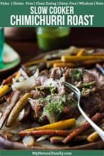 Paleo Pork Roast Slow Cooker Recipe with a Sugar Free Chimichurri Sauce! (Gluten-Free, Clean Eating, Dairy-Free, Whole30, Keto)