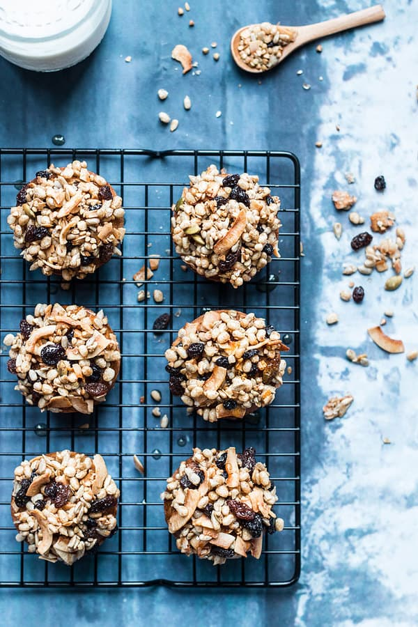 Granola muffins with almond flour, arrowroot starch, maple syrup and honey