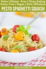 Bursted Tomato & Pesto Baked Paleo Spaghetti Squash Recipe {Gluten-Free, Clean Eating, Dairy-Free, Vegan, Whole30, Keto}
