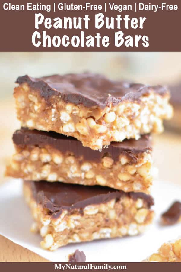 Healthy Peanut Butter Chocolate Bars {5 Ingredient, No-Bake, Clean Eating, Gluten-Free, Vegan, Dairy-Free}