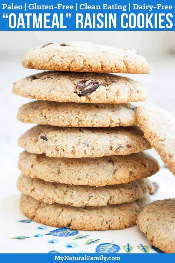 "Paleo ""Oatmeal"" Raisin Cookies Recipe {Clean Eating, Gluten Free, Dairy Free}"