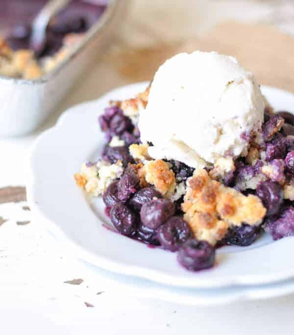 Paleo dessert with blueberries, almond flour and nut crust