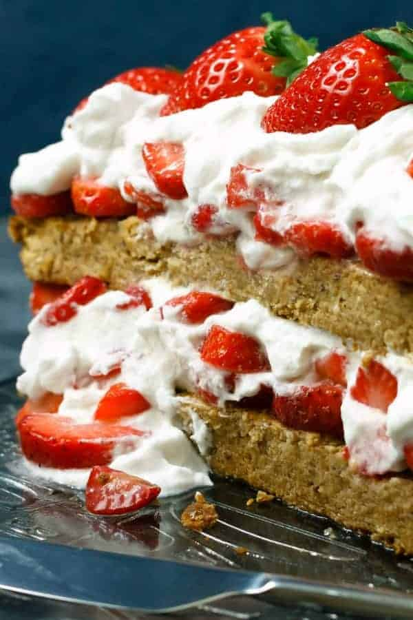 Paleo shortcake with coconut cream whipped cream and fresh strawberries