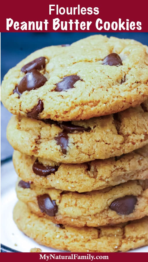 A stack of peanut butter cookies make without flour with a blue background