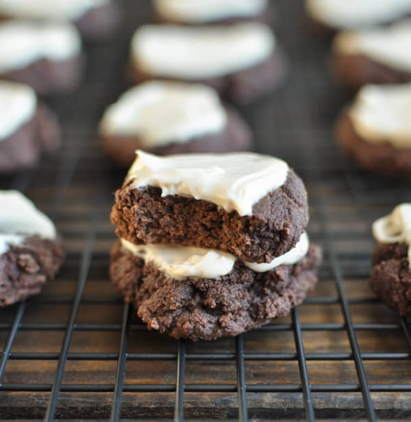 Gluten-Free Chocolate Cookies with Caramel Frosting {Clean Eating}