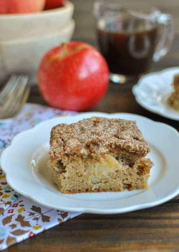 Coconut flour apple cake with an almond flour crumble