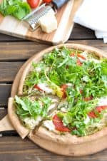 Clean Eating Whole Wheat Pizza Dough Recipe with Chicken Pesto Topping