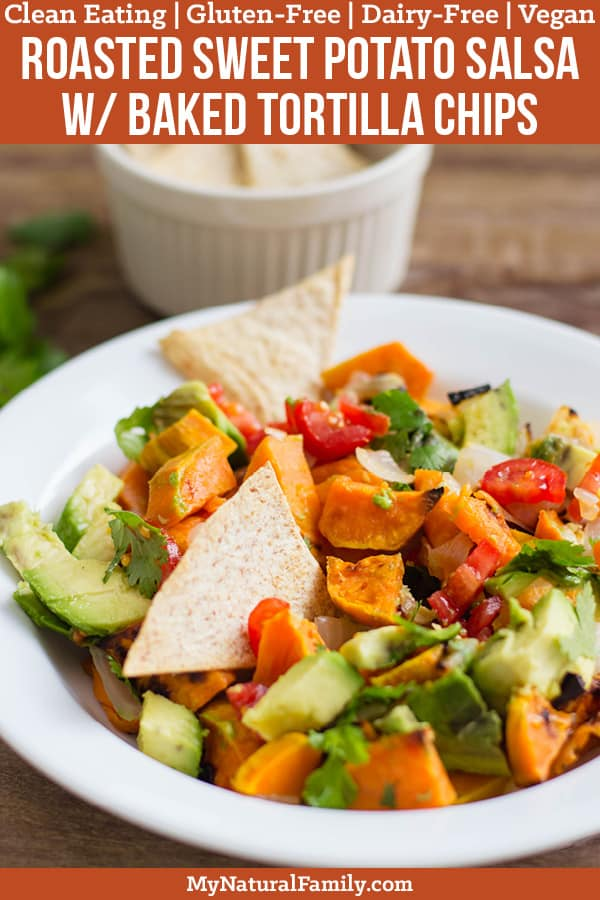 Roasted Sweet Potato Salsa Recipe with Homemade Baked Tortilla Chips