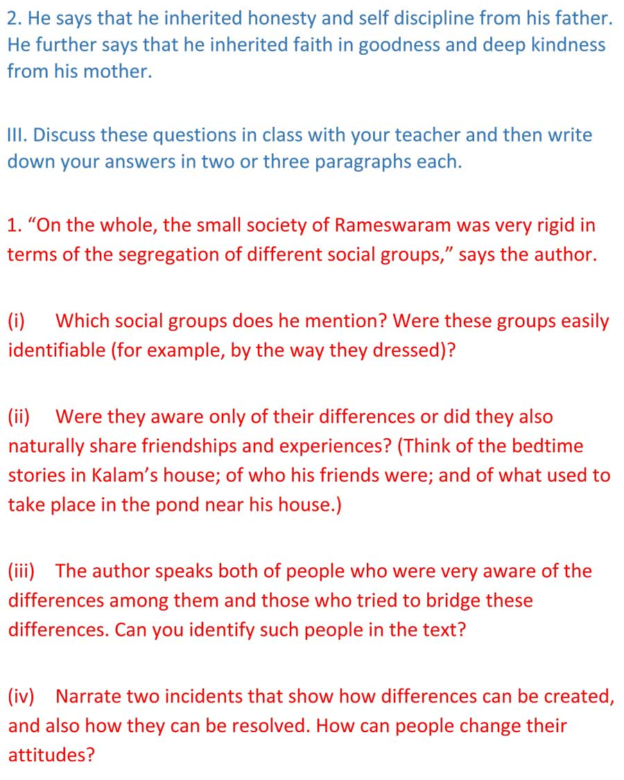 ncert solutions for class 9 english chapter 11 beehive my childhood 4