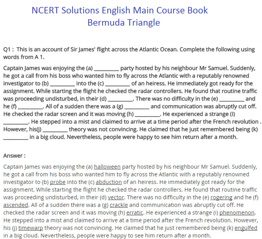 ncert solutions for class 9 english chapter 11 main course book bermuda triangle