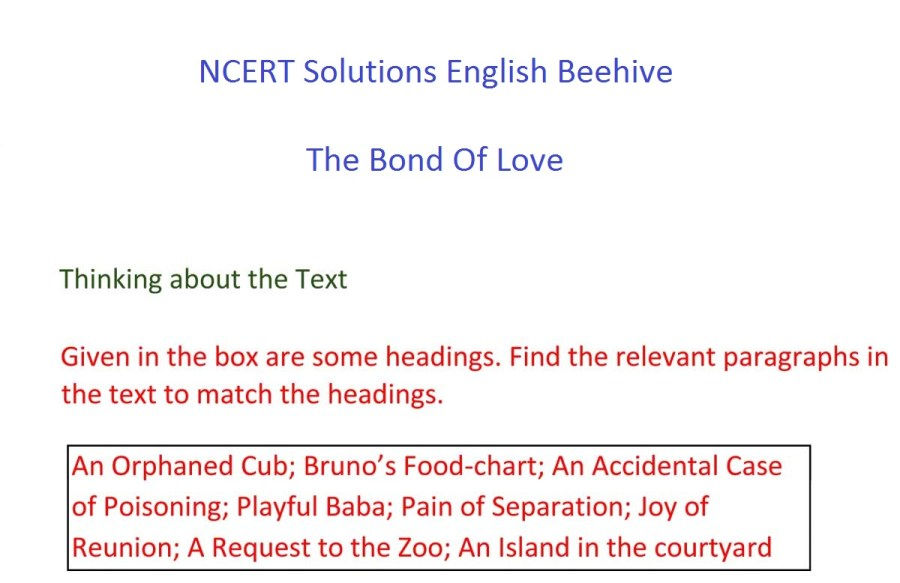 ncert solutions for class 9 english chapter 16 beehive the bond of love 1