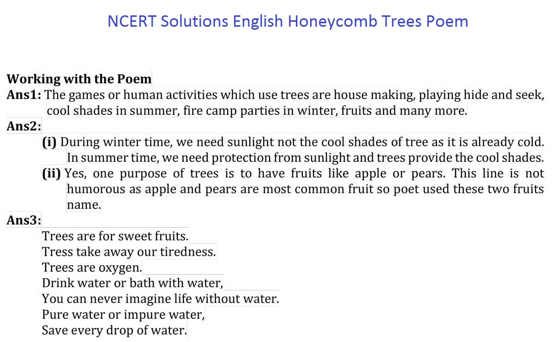 NCERT Solutions For Class 7 English Honeycomb Chapter 15