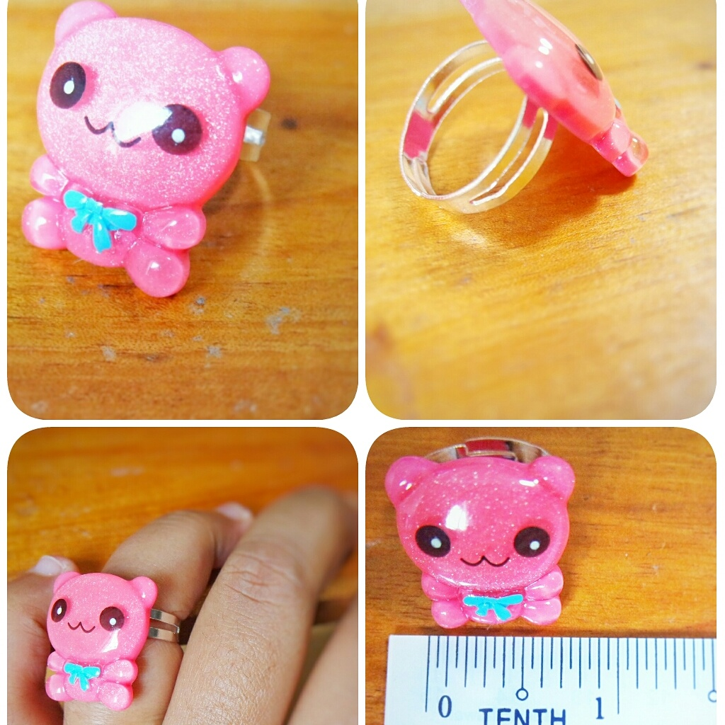 Sparkling Teddy Bear Adjustable Ring