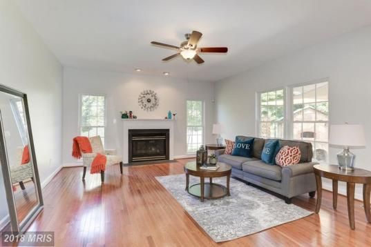 Picture of Vacant Family Room staging in oranges, grays, and blues