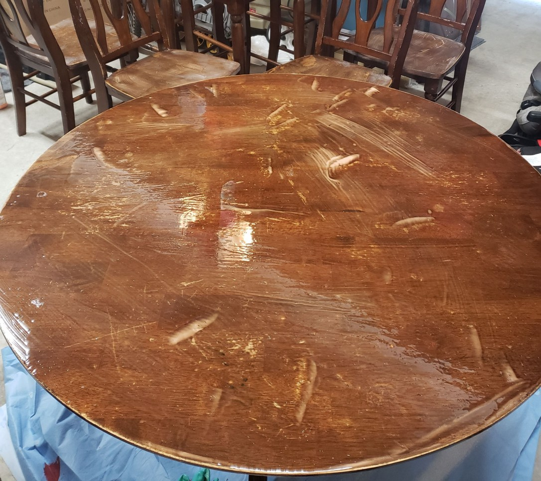 Picture of table top that is covered with Citristrip stain remover